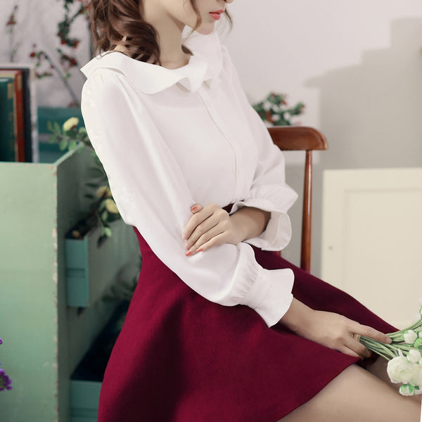 Flounced collar long-sleeved shirt - AddOneClothing - 4