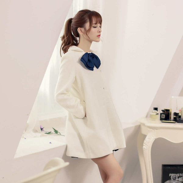 Korean fashion(&Japanese) - Bow wool long coat - AddOneClothing