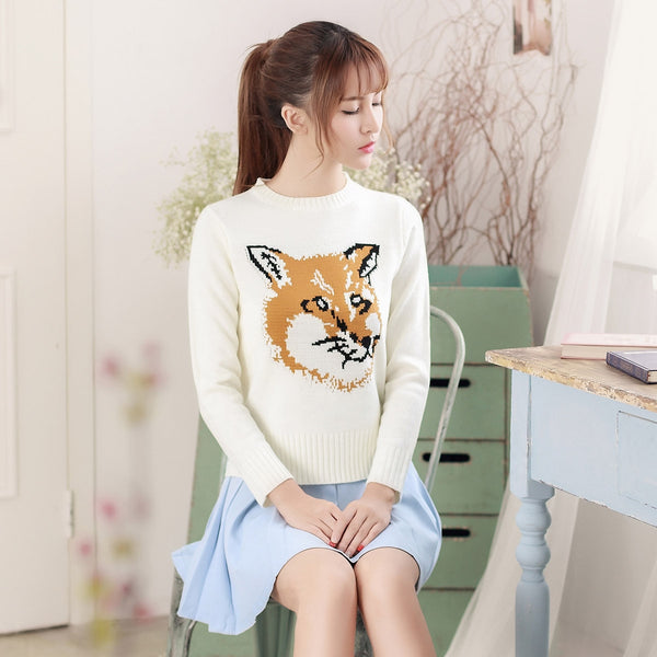 Japanese Style - Crew neck Fox pattern sweater - AddOneClothing - 1