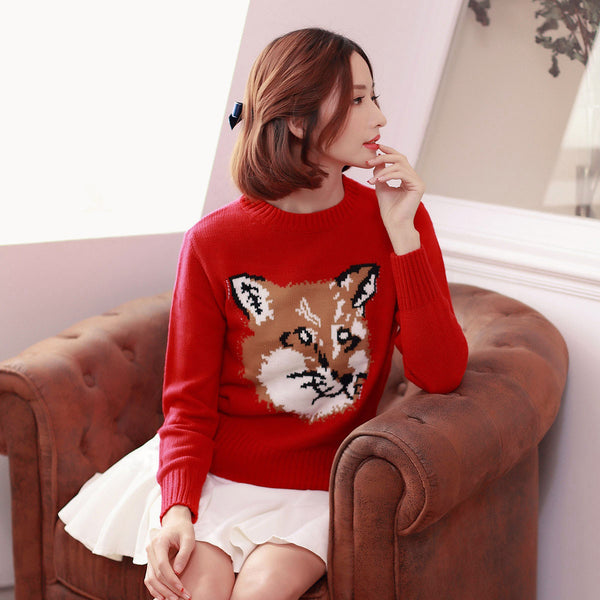 Japanese Style - Crew neck Fox pattern sweater - AddOneClothing - 3
