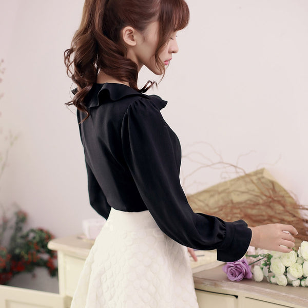 Flounced collar long-sleeved shirt - AddOneClothing - 12