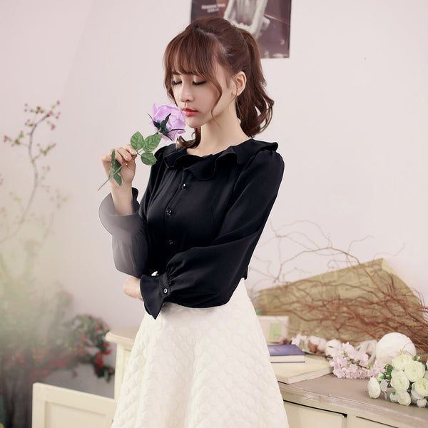 Flounced collar long-sleeved shirt - AddOneClothing - 3
