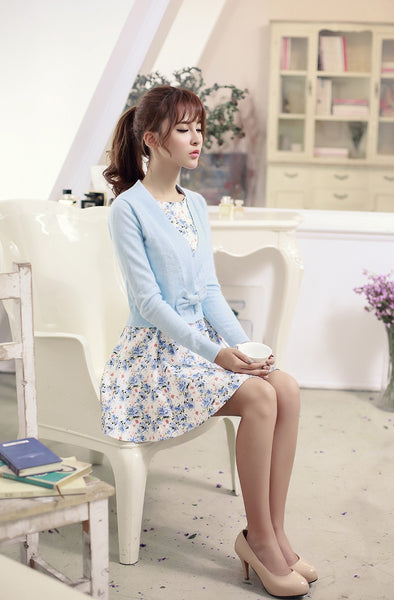Korean fashion(&Japanese) Rabbit knit V-neck sweater with bow - AddOneClothing