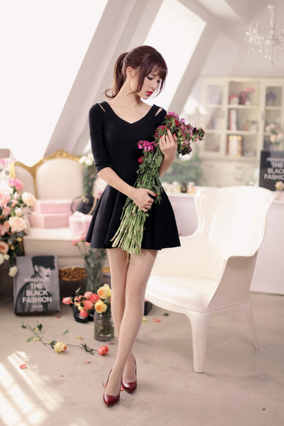 V-neck knit nine points sleeve dress - AddOneClothing - 9