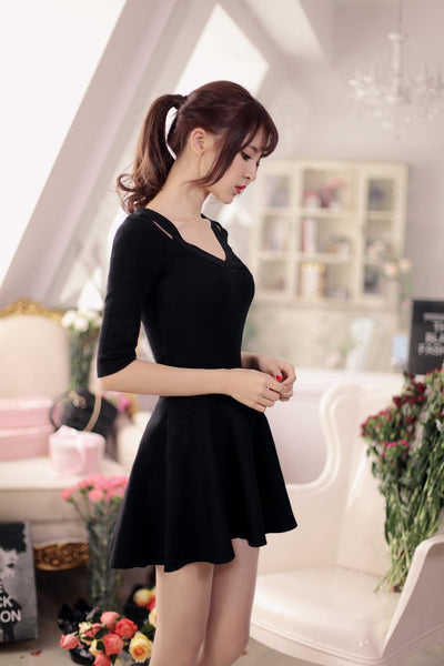 V-neck knit nine points sleeve dress - AddOneClothing - 11