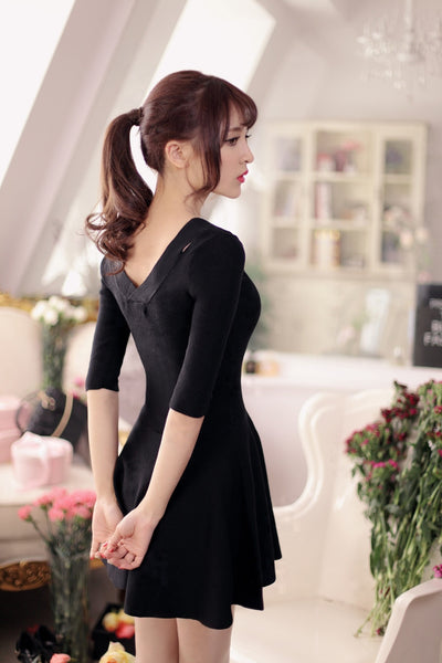 V-neck knit nine points sleeve dress - AddOneClothing - 12