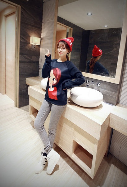 Korean Style - Cartoon little girl printing thick Hoody + Pants - AddOneClothing - 6