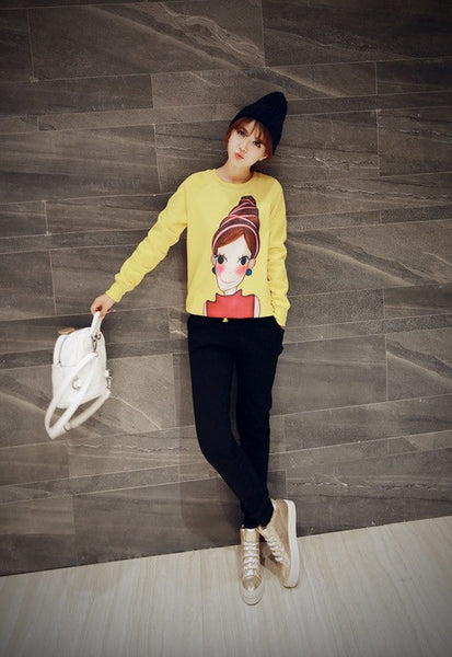 Korean Style - Cartoon little girl printing thick Hoody + Pants - AddOneClothing - 8