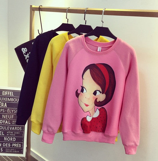 Korean Style - Cartoon little girl printing thick Hoody + Pants - AddOneClothing - 10