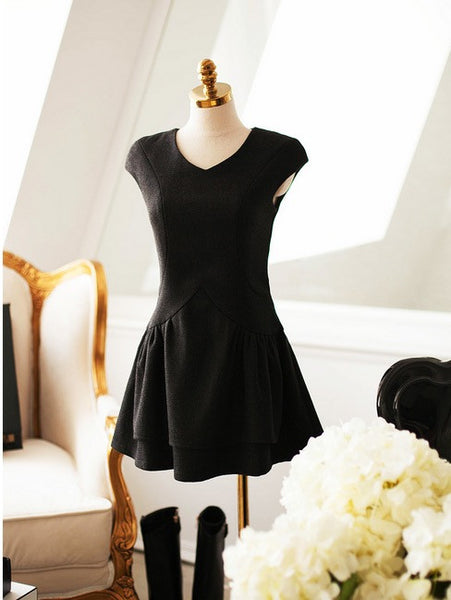 Korean fashion(&Japanese)-Wool high waist dress - AddOneClothing