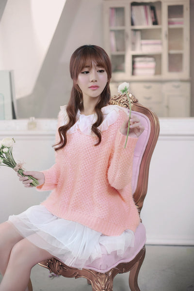 Japanese style - coarse lines pink loose low round neck sweater - AddOneClothing - 5