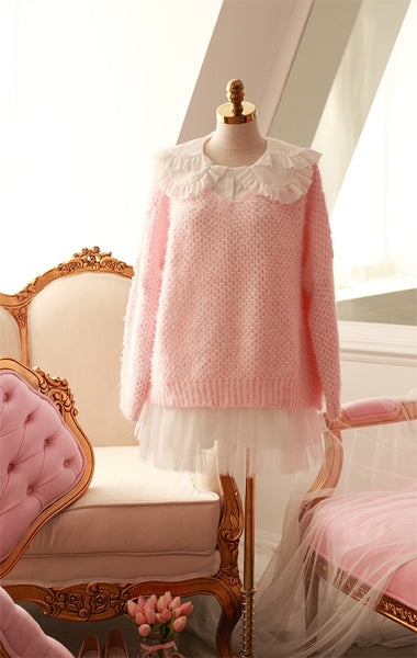 Japanese style - coarse lines pink loose low round neck sweater - AddOneClothing - 6