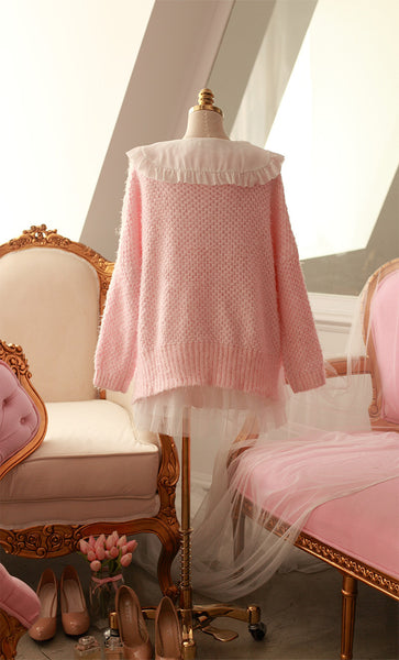 Japanese style - coarse lines pink loose low round neck sweater - AddOneClothing - 3