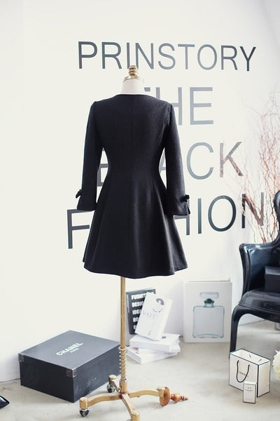 Korean fashion(&Japanese) - Slim long paragraph wool A-line dress bow coat - AddOneClothing