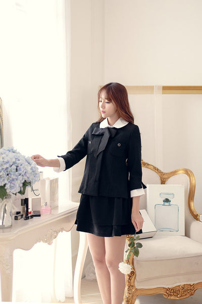 Slim dark buckle temperament princess bow short coat - AddOneClothing - 4