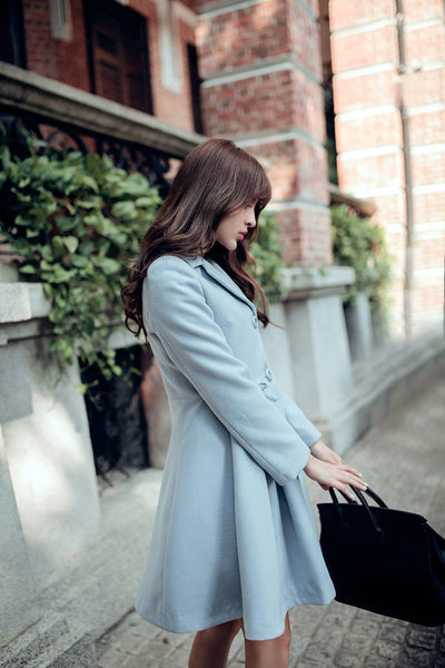 Korean fashion(&Japanese) - woolen jacket waist bow skirt style long coat - AddOneClothing