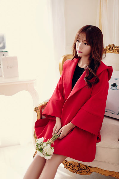 Korean fashion(&Japanese) - a thick woolen coat quilted hooded dovetail horn sleeve button coat - AddOneClothing