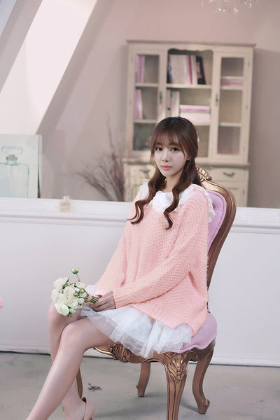 Korean fashion(&Japanese) - coarse lines pink loose low round neck sweater - AddOneClothing