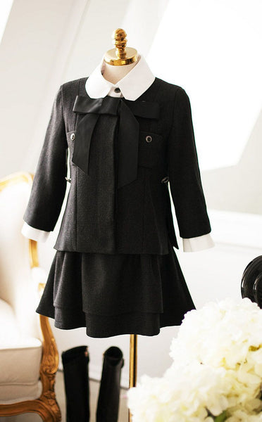 Slim dark buckle temperament princess bow short coat - AddOneClothing - 9