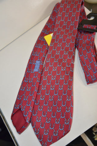 Hermes - Maroon Red With Blue Horseshoe's Men's Necktie