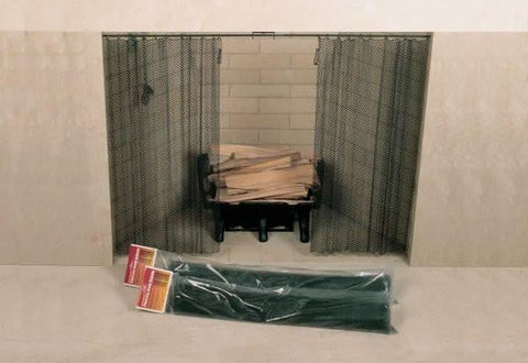 "48"" x 18"" Woodfield Hanging Fireplace Spark Screen, Rod Not Incl"