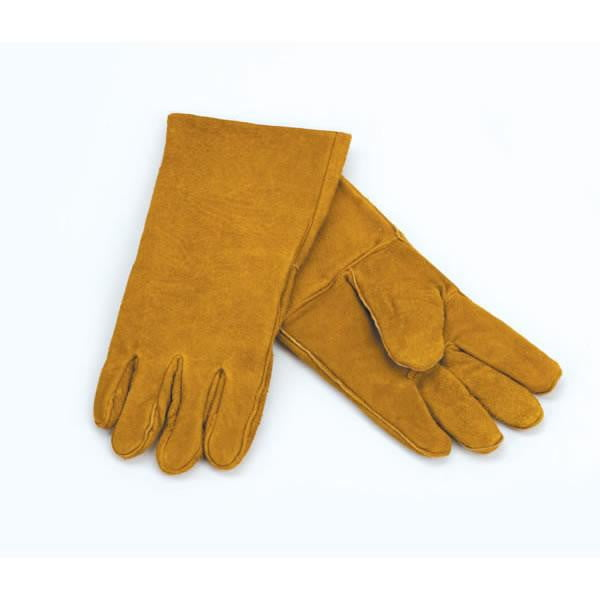 1 Pair Of Woodfield Brown Leather Fireplace Gloves, 13.5""