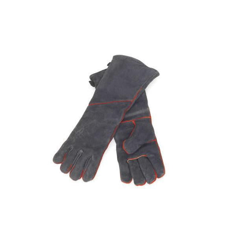 1 Pair Of Fireproof, Insulated, Black Cowhide Fireplace Gloves