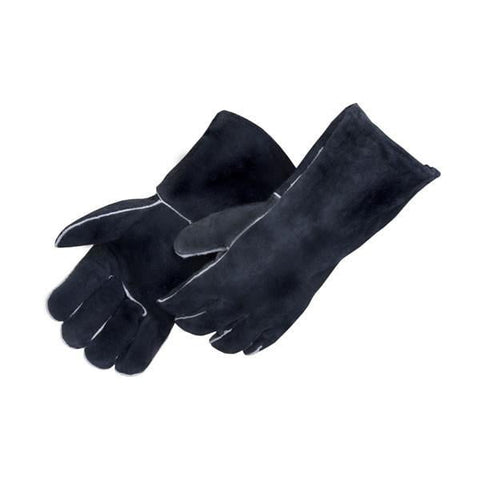 1 Pair Of Heavy Duty Cowhide Woodburner's Gloves, Insulated, Black/rust