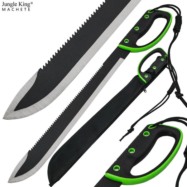 23 Inch Jungle King Machete Enclosed Handle - Undead Green