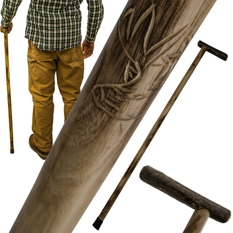 38 Inch Walking Cane Hiking Stick by Red Deer - Deer Carving L-0185D