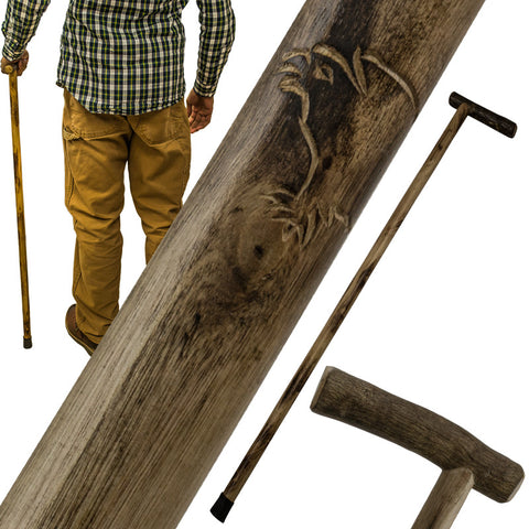 38 Inch Walking Cane Hiking Stick by Red Deer - Eagle Carving L-0185E