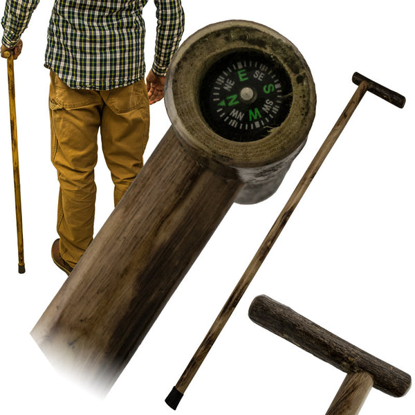 38 Inch Walking Cane Hiking Stick by Red Deer - Compass