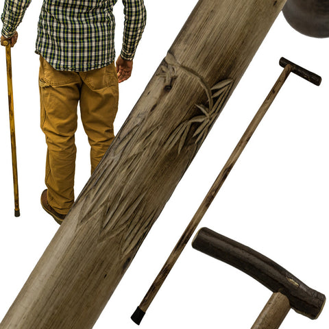 38 Inch Walking Cane Hiking Stick by Red Deer - Wolf Carving L-0185W