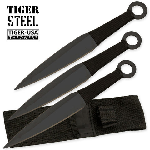 3 PC Black Throwing Knife Set TV-1039-BBK