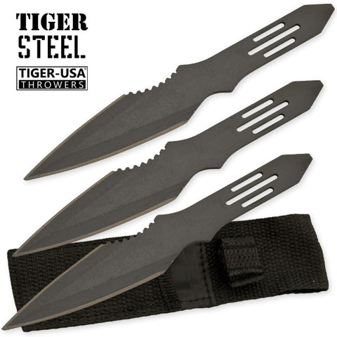 3 PC Black Throwing Knife with Protective Case TV-1033-BK