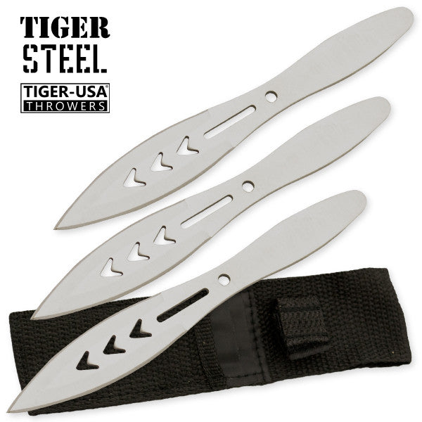 3 PC Silver 440 Stainless Steel Thrower Set by Tiger-USA