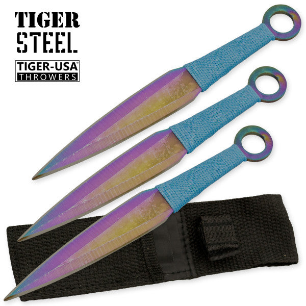 3 PC Titanium Throwing Knife Set with Blue Cord