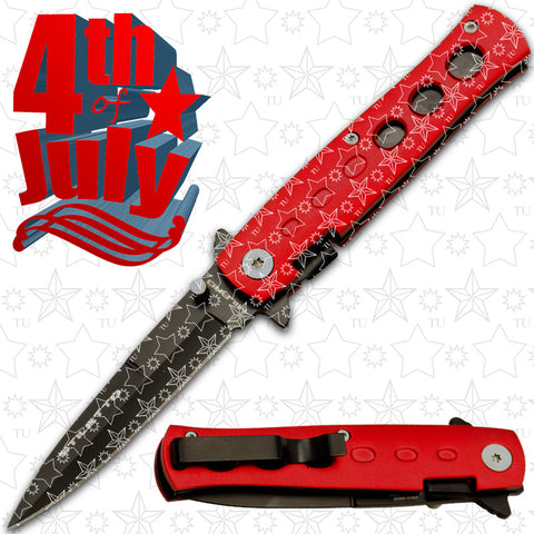 4th of July Star Spangled Stiletto style Folding Knives - Red