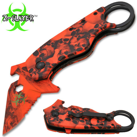Man Kombat Takedown Tech Trigger Action Knives - Undead Red Skulls