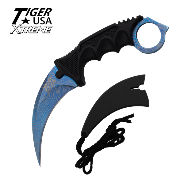 Color Damascus Karambit with Fixed Blade and free neck sheath - Blue