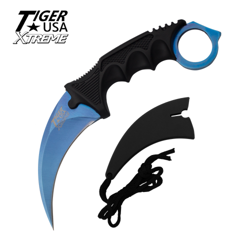 Color Karambit with Fixed Blade and free neck sheath - Blue