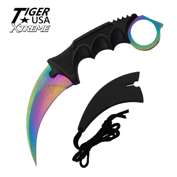 Color Damascus Karambit with Fixed Blade and free neck sheath - Rainbow