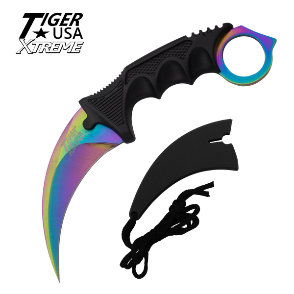 Color Karambit with Fixed Blade and free neck sheath - Rainbow
