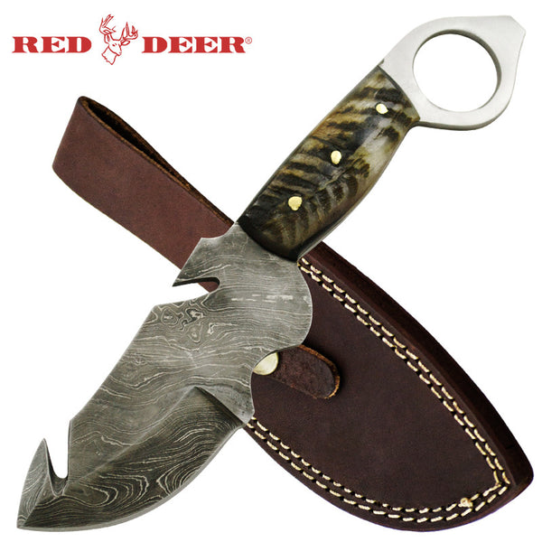 Red Deer Gut Hook Damascus Knife Burnt gray Animal Bone Full Tang