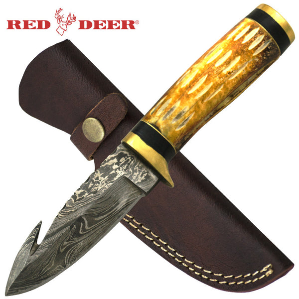 Red Deer 8.5 Inches Damascus Burnt Bright Animal Bone Hunting Knife