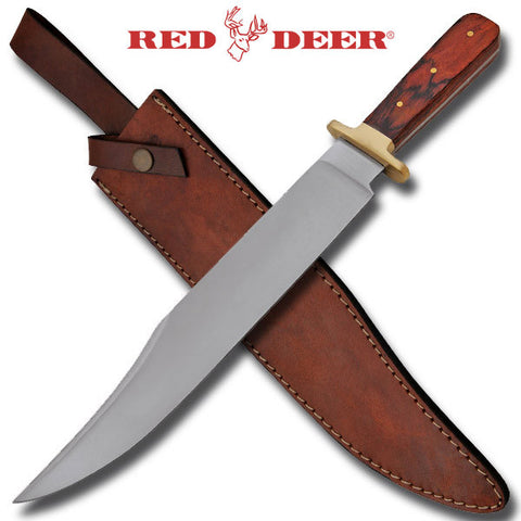 Red Deer Bowie Knife Wooden Handle