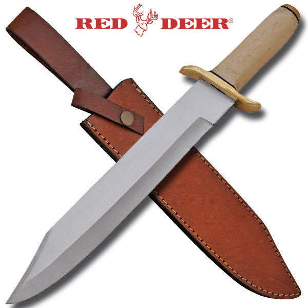 Red Deer Bowie Knife Bone Handle