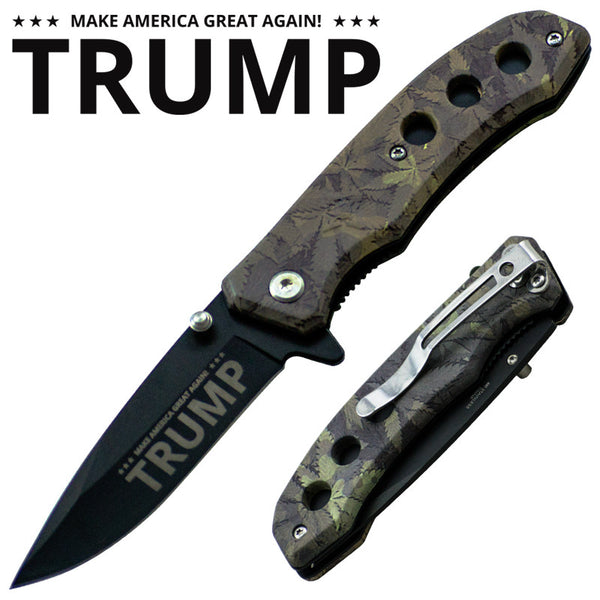 Trigger Action 7 Inch Tactical Camo Knife - Trump