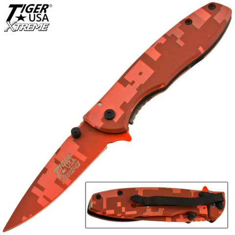 Tiger USA Xtreme Trigger Action Knife - Red Digital Camo