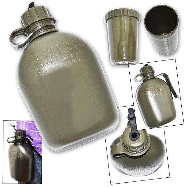 2 Piece Camping & Survival Canteen and Cup Set - Green